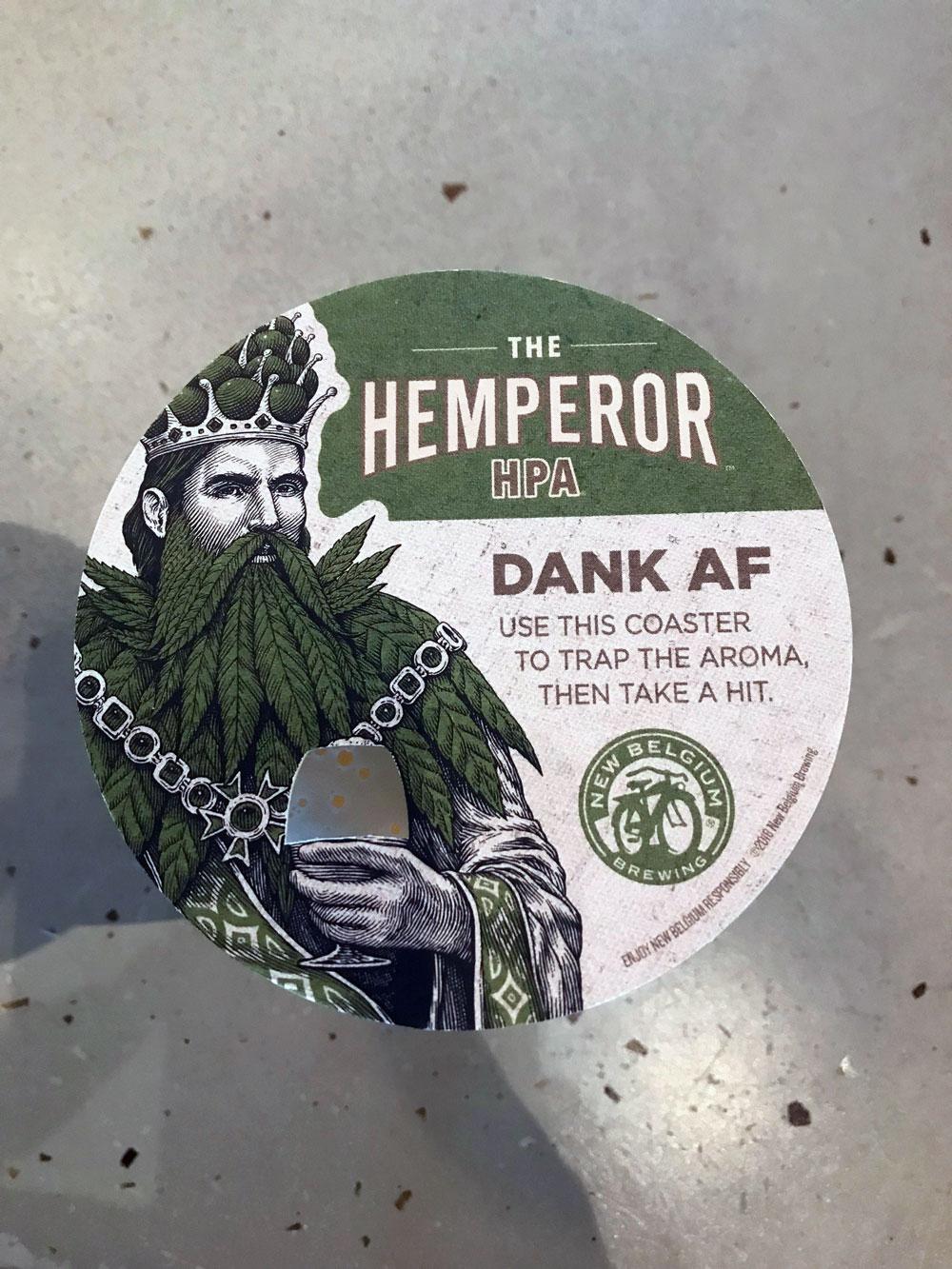 Hemperor coaster from New Belgium Brewing Co.