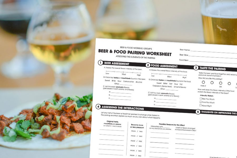 beer food pairing worksheet