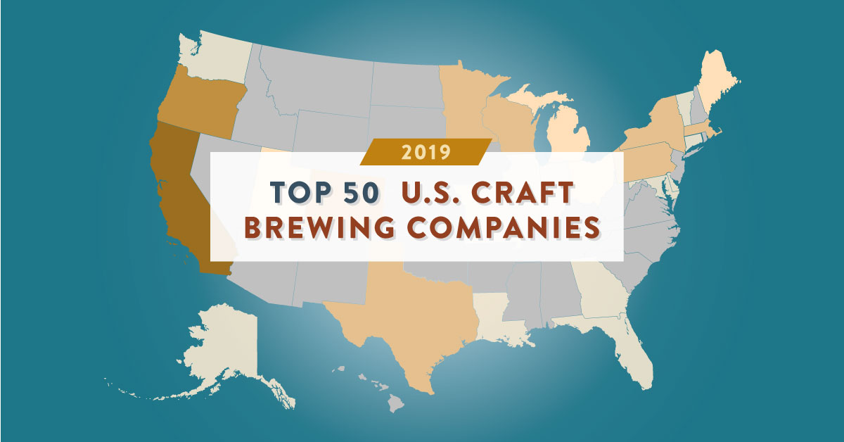 Top 50 U.S. Craft Brewing Companies by Volume, 2019